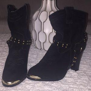 Black swede cowboy booties